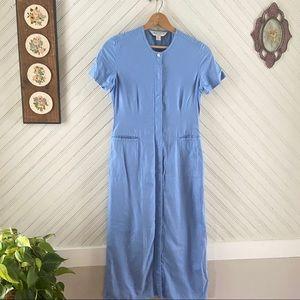 Vtg Cornflower Blue Minimalist Maxi Dress